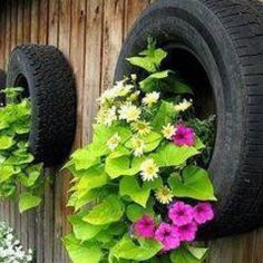 Upcycled tires into planters