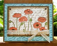 tamps: SU Pleasant Poppies, Hero Arts Old Letter Writing Paper: SU Soft Suede, Soft Sky, Very Vanilla Ink: SU Soft Sky, Soft Suede, Pear P...