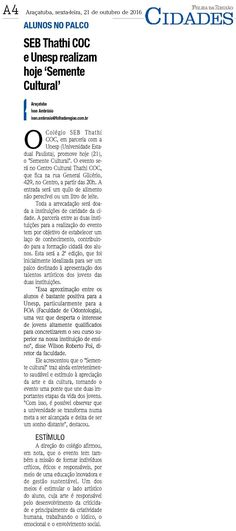 """SEB Thathi COC e Unesp realizam hoje """"Semente Cultural"""". Fonte: Folha da Região"""