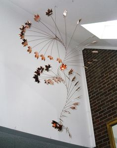 Handmade Copper Mobile w/ Hammered Maple Leaves by jfjones