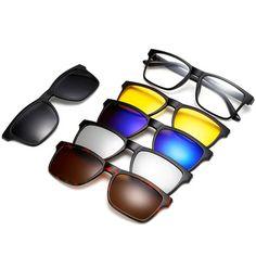 10c54cb099 Glasses Frame Men Women Optical Spectacle Frame myopia eyeglasses With 5  clip on Polarized Sunglasses Magnetic Adsorbent 753