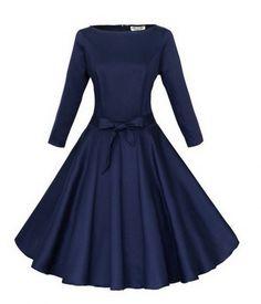 Babyonline 3,4 Ärmel, klassisch, Retro-Stil, mit Schmucksteinen, 1940 er Jahre, Rockabilly Kleid 50er Jahre Gr. Größe L, Blau - Marineblau
