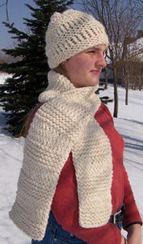 Textured Stripes Hat & Scarf Set