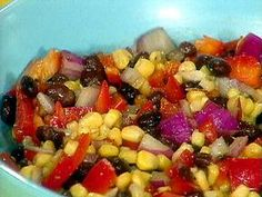 Corn and black bean salad. Awesome side dish for a Mexican inspired dinner.