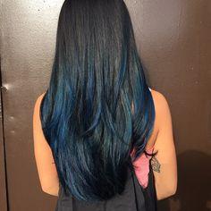 beautiful blue balayage by our Cecilia! #balayage #feelingblue #77SalonInc