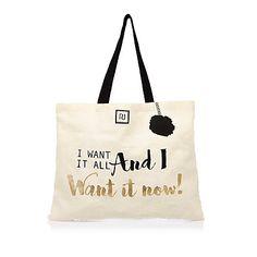 Beige slogan print shopper bag £3.00