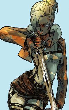 Annie Leonhardt // Attack on Titan // Shingeki no Kyojin Armin, Eren X Mikasa, Tokyo Ghoul, Snk Annie, Anime Manga, Anime Art, Heros Comics, Female Titan, Annie Leonhart