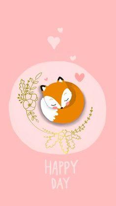 Illustration renard kawaii sur fond rose Fond d'écran en téléchargement gratuit sur mon blog !