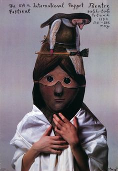 Poster - International Puppet Theater Festival in Bielsko-Biala, Poland (artist: Stasys Eidrigevicius) Graphic Design Brochure, Graphic Design Posters, Poster Designs, Ballet Posters, Polish Posters, Textile Artists, Illustrations And Posters, Puppets, Illustrators