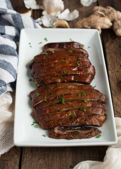 Marinated and then baked, these portobello mushrooms are simply the best, whether as a side accompanying another entrée or as a vegetarian main dish. - Feasting Not Fasting