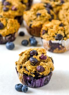 Healthy Blueberry Muffins Recipe -- Delicious, moist and fluffy muffins made with whole ingredients and are naturally sweetened.