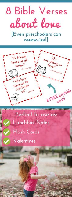 Simple and easy-to-memorize Bible verses about LOVE (even preschoolers can memorize!) Plus grab your free printable scripture cards perfect to use as lunchbox notes, thinking-of-you cards, Valentines, or flash cards. Love Scriptures, Bible Verses For Kids, Bible Verses About Love, Verses For Cards, Printable Bible Verses, Scripture Cards, Healing Scriptures, Healing Quotes, Valentines Bible Verse