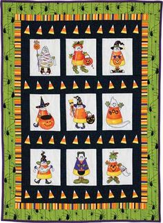 Halloween Quilt Patterns | ... candy corn get into the Halloween spirit in lively wall quilt