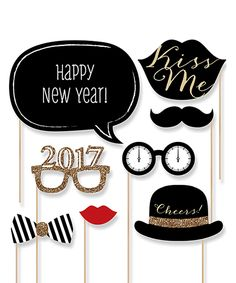 Look at this #zulilyfind! Gold New Year's Eve Party Photo Booth Prop Kit by Big Dot of Happiness #zulilyfinds
