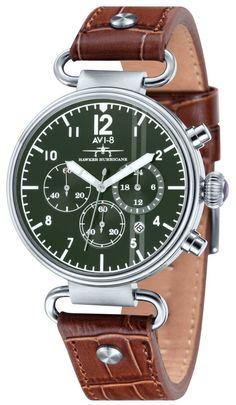 Brown Hawker Hurricane Vintage Chronograph Watch by AVI-8 Sportovní Hodinky fdf7b18512