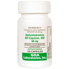Diphenhydramine is an antihistamine used in the treatment of allergies, insect bites or stings and other causes of itching. It is also used for its sedative and antiemetic effects in the treatment of motion sickness and travel anxiety. It is also used for its antitussive effect. It is available in 50mg capsules. http://www.allvetmed.com/Diphenhydramine-p/DIP1T100.htm