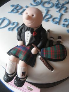 90th Birthday Cake Scotsman with Bagpipes a