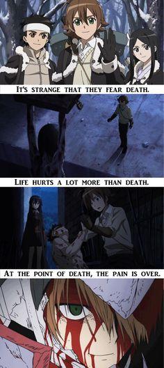 """At the point of death, the pain is over."" | Anime/manga: Akame ga Kill! [Ieyasu x Tatsumi x Sayo] | #quotes"