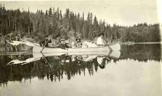 Guides Adulphus Ross and William Bird ~ (Cree) ~ with passengers ~ Long Lake, Sask 1919 Photo: Christina Bateman