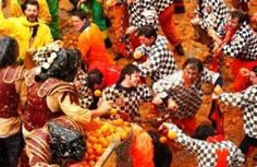 Carnevale di Ivrea (Battle of Oranges) in Ivrea, Italy.