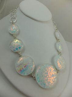 Statement Necklace - Handmade Dichroic Glass & Chain - Cheryl Smith Original