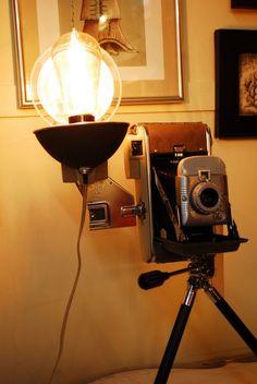 50s Polaroid steampunk desk lamp, boho, retro, edison bulb, vintage  #Polaroid