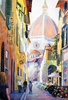 """A Street in Florence (28"""" x 22"""") by Catherine Hillis"""