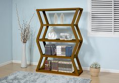 ID USA Furniture Distributor #13647 Contemporary Display Cabinet features four shelves and is finished on all sides so doubles as a room divider. #IDUSA #IDUSAfurniture