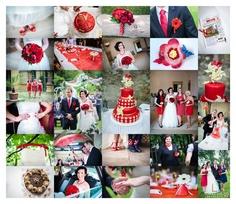 White-dot & red wedding inspiration.