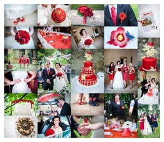 White-dot & red wedding inspiration.