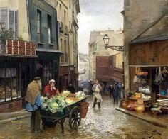 Marchande de 4 saisons, rue Mouffetard (en réalité la scène est peinte rue de la Montagne Sainte-Geneviève) sans date (vers 1890) Victor Gabriel Gilbert