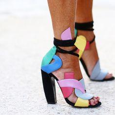 """Graphic art-pop footwear outside #pfw #streetstyle #wgsnhub"""