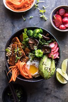 Superfood Bibimbap with Crispy Tofu: The PERFECT recipe to prep on Sunday, just make the tofu and veggies, cook your grains, put everything in containers and add an egg before serving...meal prep done and done! @halfbakedharvest.com