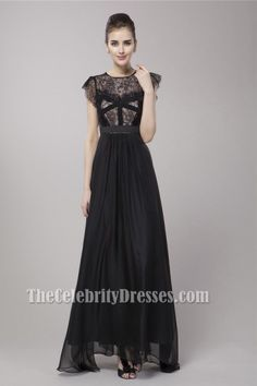 Celebrity Inspired Black A-Line Evening Dress Prom Gown - TheCelebrityDresses