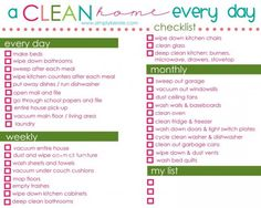 A Clean Home Everyday Checklist Idea