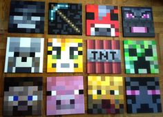 Minecraft inspired wall painting12x12 Canvas boys by creativejin