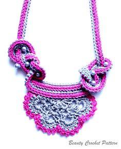 Crochet Two Colors Necklace Pattern by BeautyCrochetPattern, $4.50