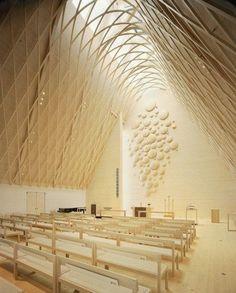 Gorgeous House of Prayer (beautiful,light,wooden,warmth,designed,pews,architecture,interior design,modern)