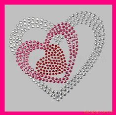 cœurs imbriqués en strass / hotfix motif, iron on motif, rhinestone motif… Button Art, Button Crafts, Beaded Embroidery, Embroidery Patterns, Rhinestone Crafts, Rhinestone Shirts, Motifs Perler, Dot Art Painting, Crystal Design