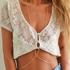 경우 저에게 새로운 패션 비치 원 다층 여름 바디 체인 간단한 목걸이 보석 합금 골드 컬러 바디 목걸이