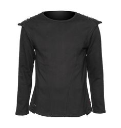 Black cyber-goth sweater with studs on shoulders