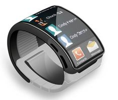 Samsung Smartwatch concept. (Mobilegeeks.de). Interesting curved glass face, but wonder about reflection problems. UI looks as though not 'thought out' (would I do email (envelope) on that small screen?)