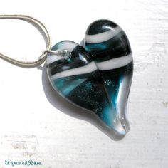 Glass Heart Necklace, Lampwork Boro Jewelry, Hand Blown Boro Pendant, Handmade Heart, Sparkling Blue Twisted White by UntamedRose, $25.00
