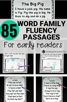 Word Family Fluency Passages for Early Readers in Kindergarten Over 85 fluency passages for early readers. CVC passages and CVCe passages make these great for Kindergarten and First grade! Word Family Activities, Cvc Word Families, Reading Fluency Activities, Reading Games, Spelling Activities, Letter Activities, Reading Worksheets, Reading Skills, Therapy Activities