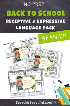 This Back to School speech and language therapy resource in SPANISH Includes coloring sheets, bingo, YES/ NO Questions, Compare and contrast, and more, to practice receptive and expressive language skills! Great for working with bilingual children (Prek through 1st grade). - Speech is Beautiful #BacktoSchoolSpeechTherapy #FallSpeechTherapy #SpanishSpeechTherapy #BilingualSpeechTherapy