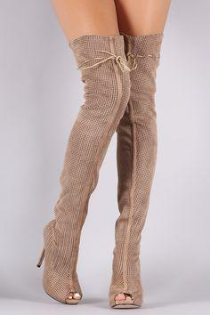 Perforated Open Toe Over The Knee Stilleto Heel Boots #stilettoheelsstilleto