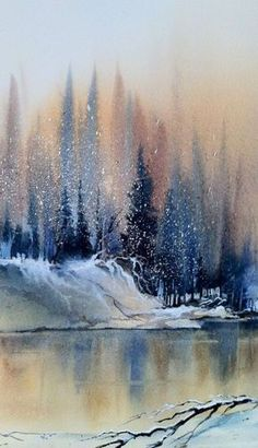 Winter forest on the lake painting. EASY-WATERCOLOR-PAINTING-IDEAS-FOR-BEGINNERS