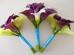 Purple and Tiffany Blue Combo Cally Lilies Bridal Bouquet. Id add orange or brick red tape to keep the theme. Simple.