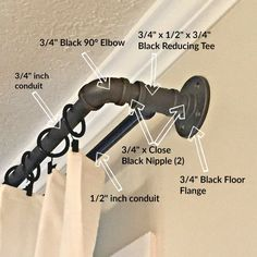 DIY conduit curtain rod. Please visit my blog sincerelysaturday.com for full list of materials and tutorial.