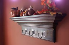 "24"" Espresso Stained Crown Molding Floating Wall Shelf With 3 Satin Nickel Hooks"